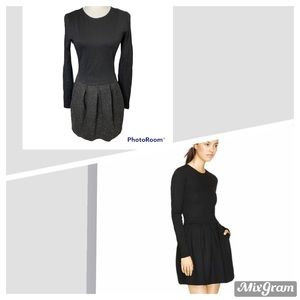 Aritzia Wilfred Tartine Two Tone Black w Speckled Skirt Mini Dress Sz 6